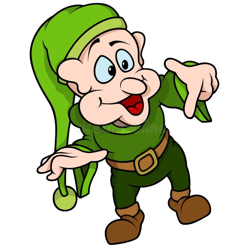 Indicare verde di Elf illustrazione di stock