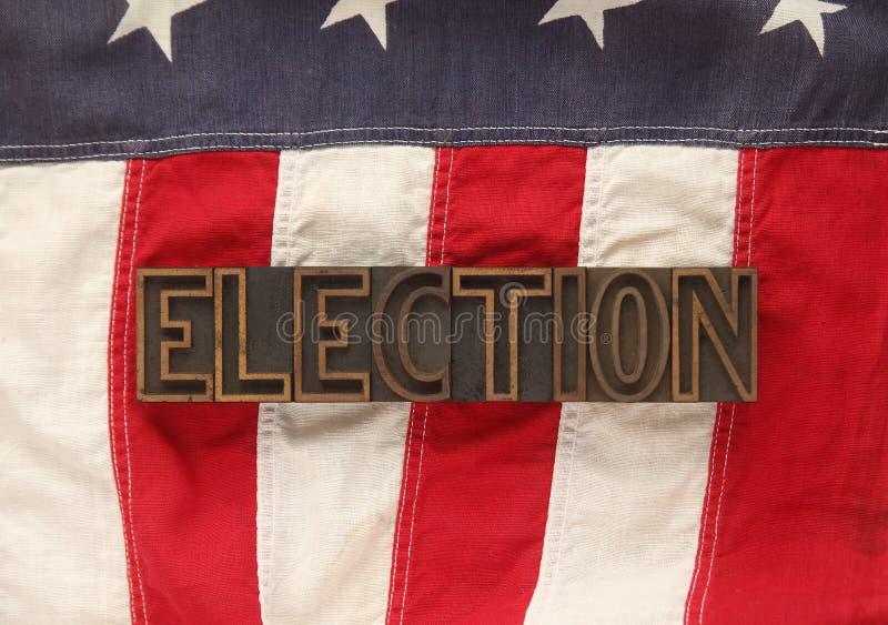 Indicateur américain avec le mot d'élection photographie stock libre de droits