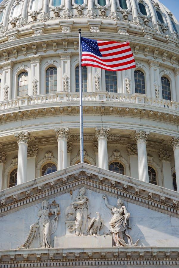 Indicateur avec la construction de capitol des USA, Washington DC image stock