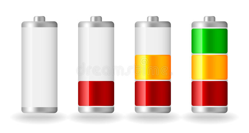 Indicateur brillant de plénitude de batterie de vecteur illustration libre de droits