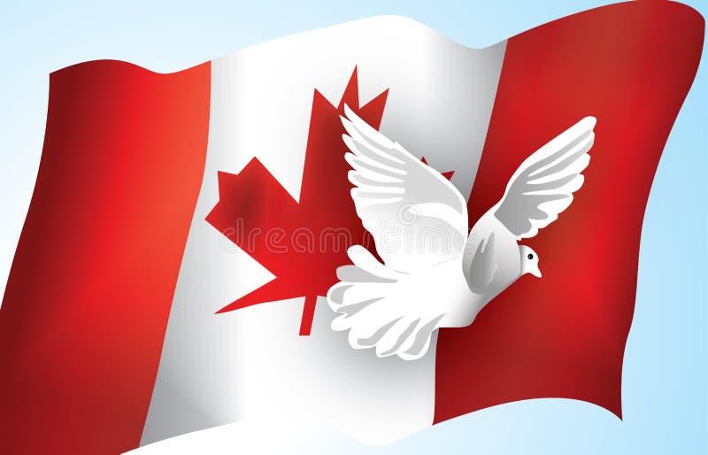 Indicateur canadien et une colombe images libres de droits