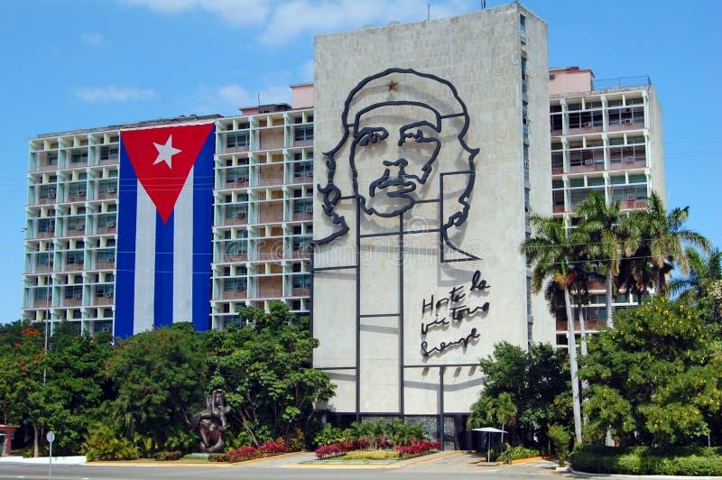 Indicateur cubain et Che Guevara photographie stock libre de droits