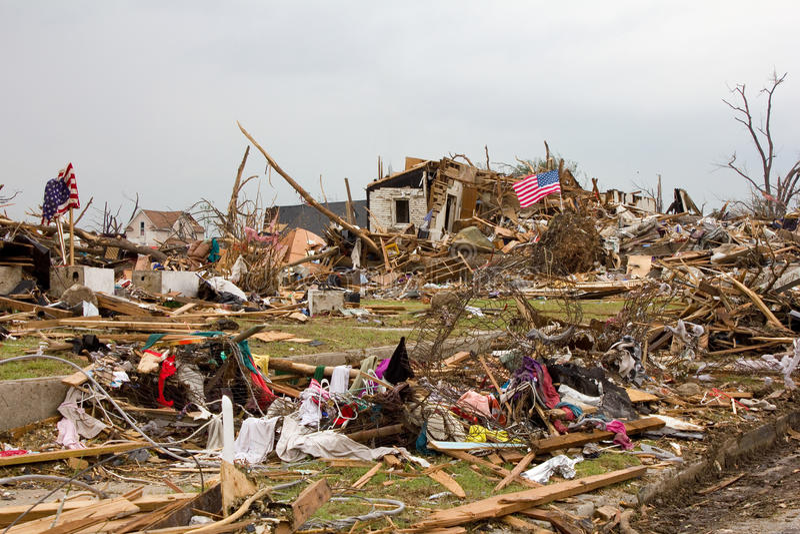 Indicateur détruit de tornade de Joplin Missouri de Chambre photos stock
