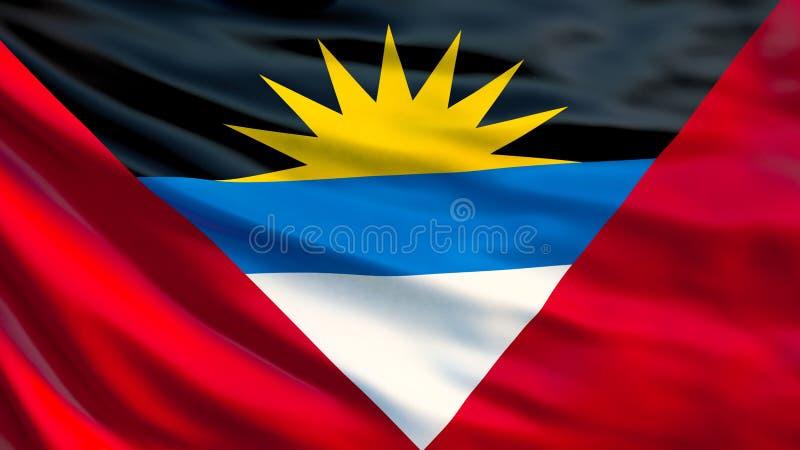 Indicateur d'Antigua et de Barbuda Drapeau de ondulation d'illustration de l'Antigua-et-Barbuda 3d illustration de vecteur