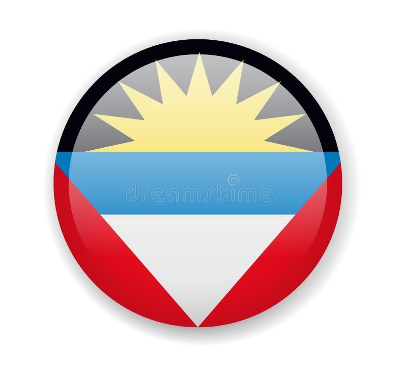 Indicateur d'Antigua et de Barbuda Icône lumineuse ronde sur un fond blanc illustration stock
