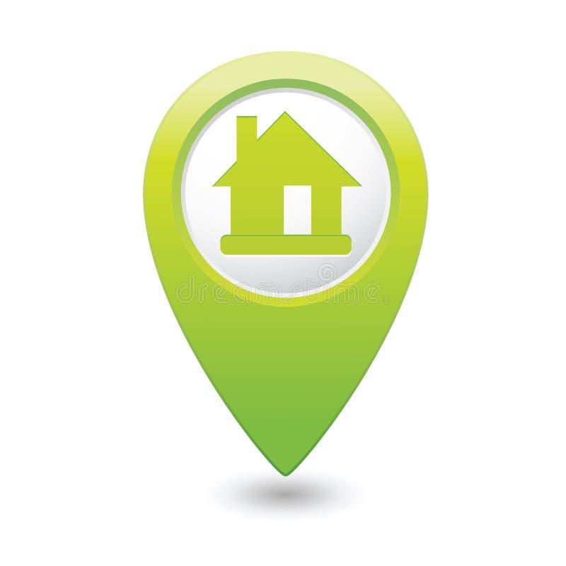 Indicateur de carte avec l'icône à la maison illustration de vecteur