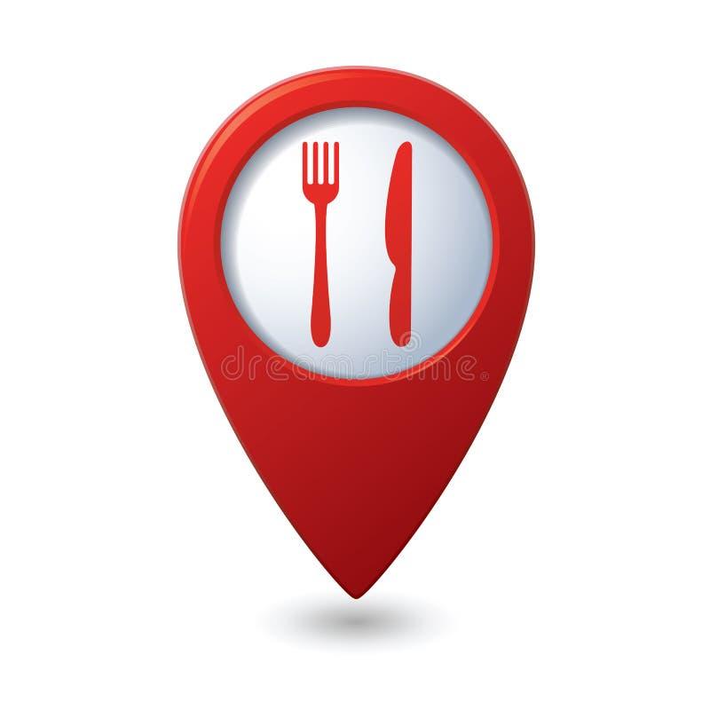 Indicateur de carte avec l'icône de restaurant illustration stock
