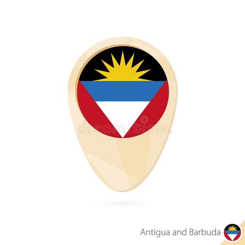 Indicateur de carte avec le drapeau de l'Antigua-et-Barbuda Icône abstraite orange de carte illustration de vecteur
