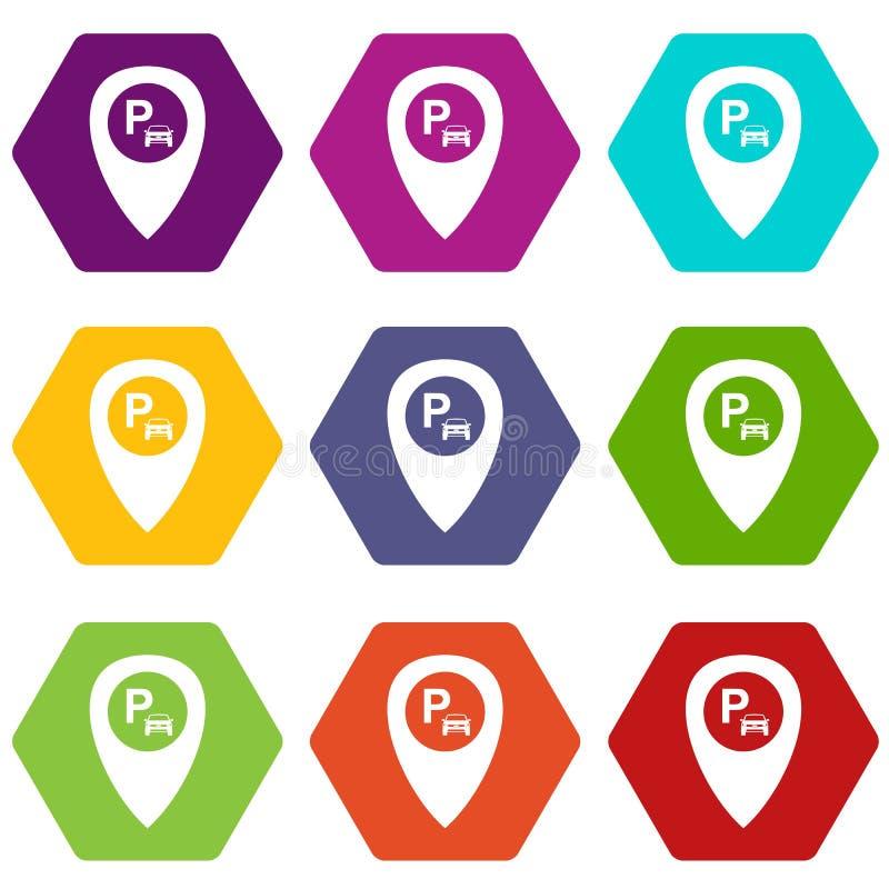 Indicateur de carte avec le hexahedron réglé de couleur d'icône de stationnement de voiture illustration stock