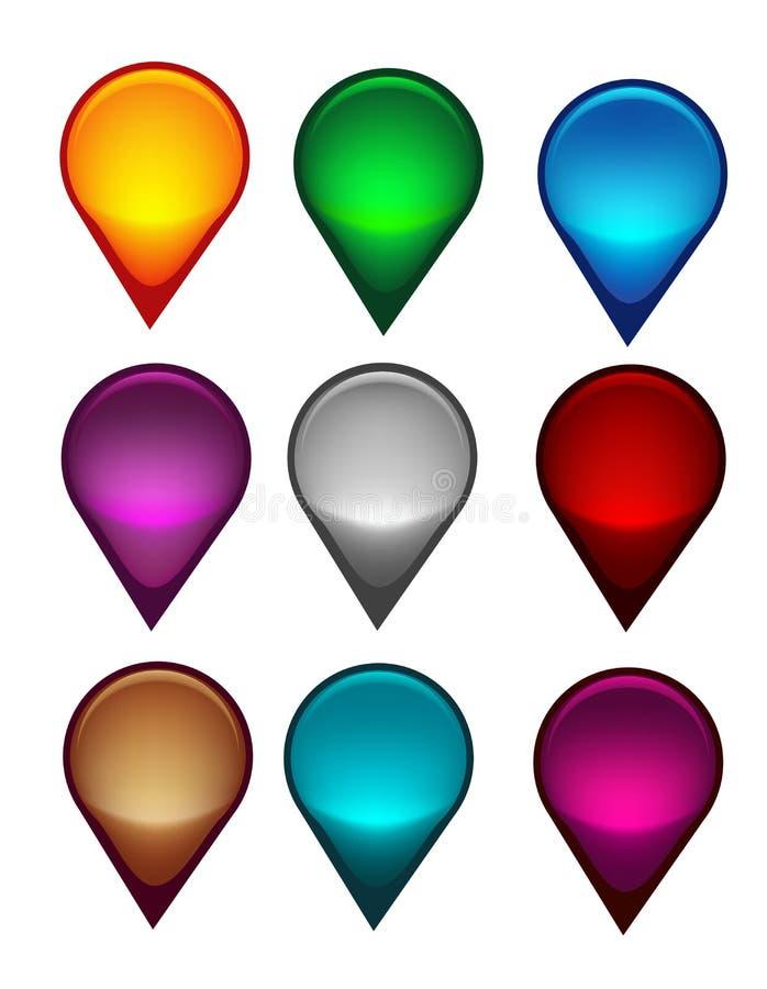 Indicateur de carte coloré illustration de vecteur