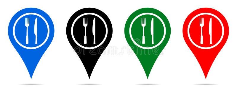 Indicateur de carte d'illustration de vecteur avec l'icône de restaurant illustration libre de droits