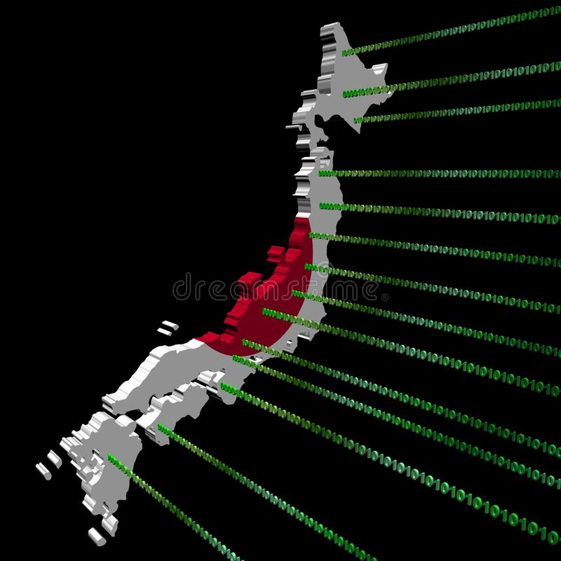 Indicateur de carte du Japon avec le code binaire illustration libre de droits