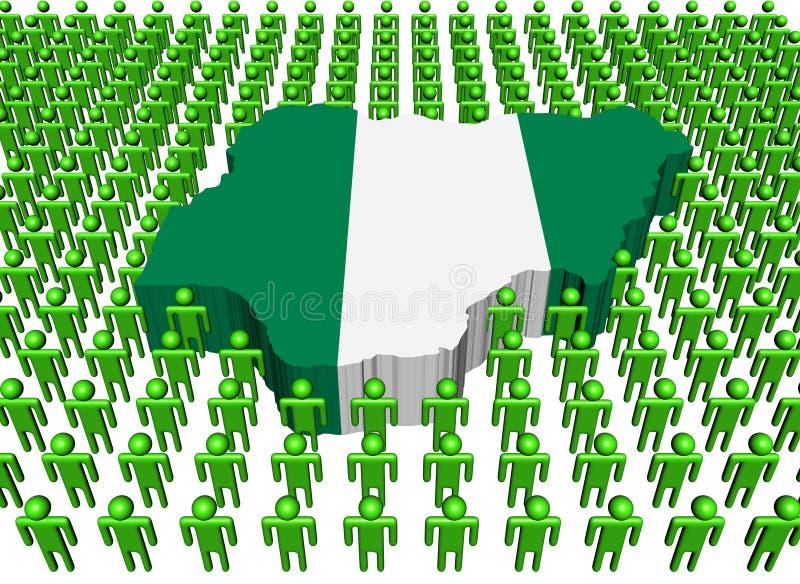 Indicateur de carte du Nigéria entouré par des beaucoup peopl illustration stock
