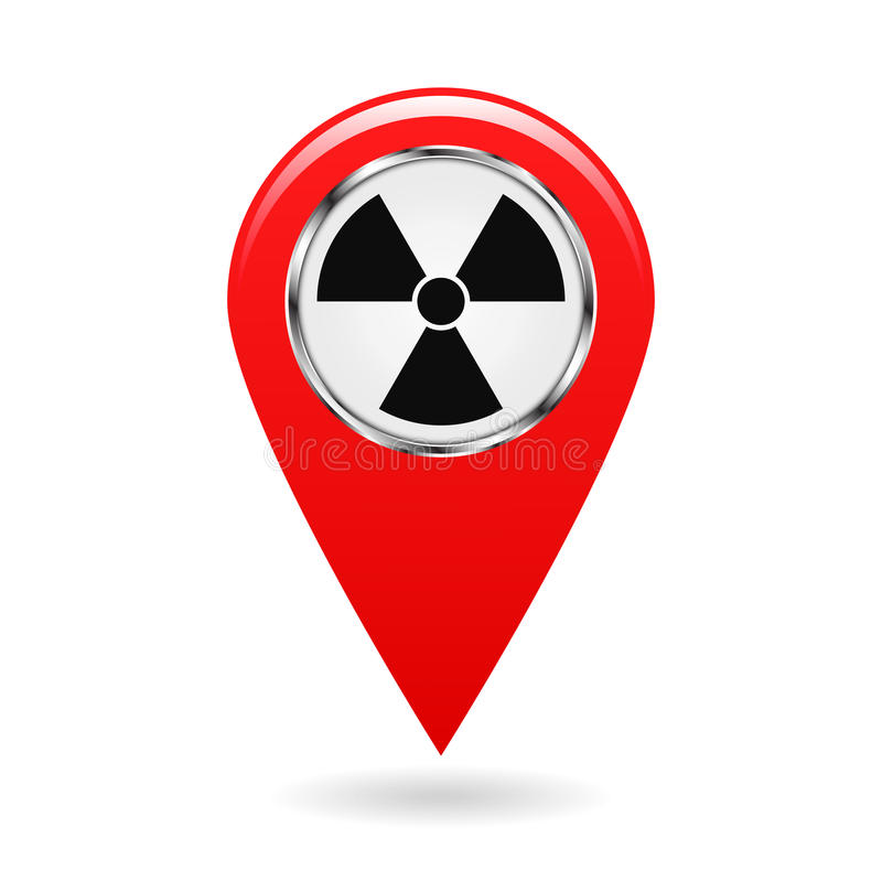 Indicateur de carte Risques d'irradiation d'indicateur et endroits de contamination sur le terrain de carte Un symbole pour la sé illustration libre de droits