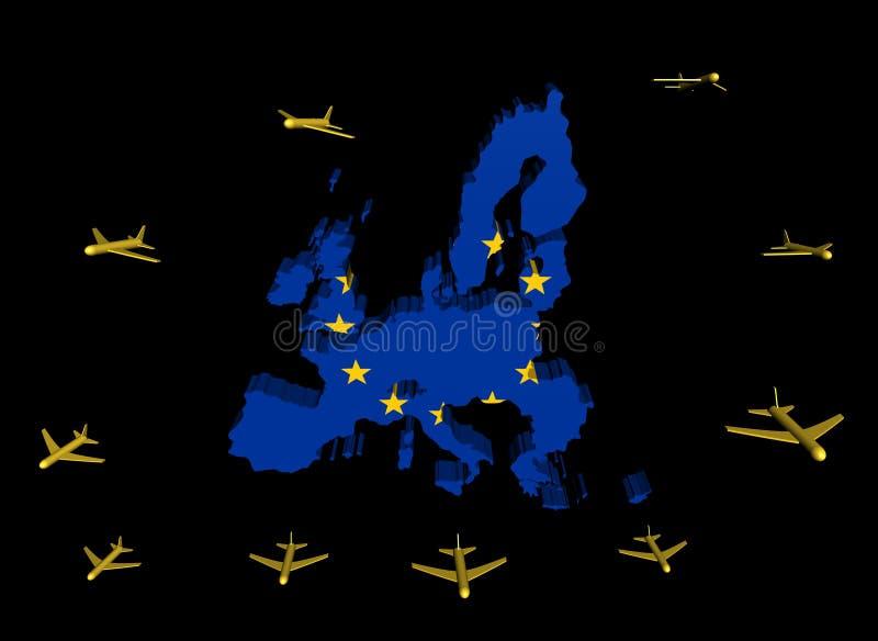 Indicateur de départ de carte d'UE d'avions illustration de vecteur