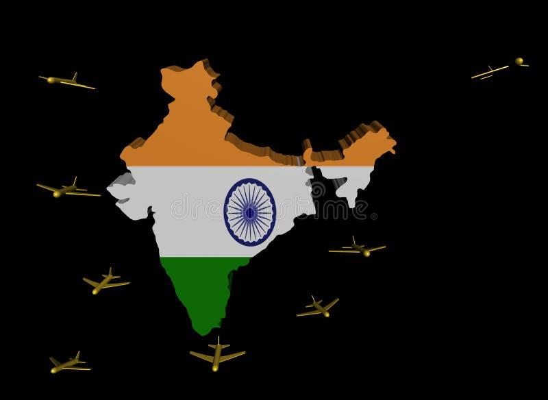 Indicateur de départ de carte de l'Inde d'avions illustration libre de droits