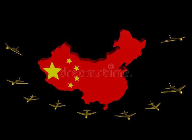 Indicateur de départ de carte de la Chine d'avions illustration stock