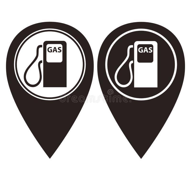 Indicateur de goupille de station service dans la version de deux couleurs illustration libre de droits