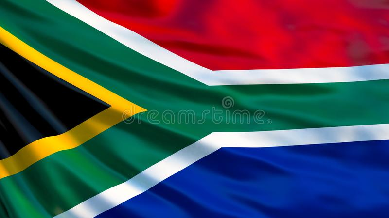 Indicateur de l'Afrique du Sud Drapeau de ondulation d'illustration de l'Afrique du Sud 3d illustration libre de droits
