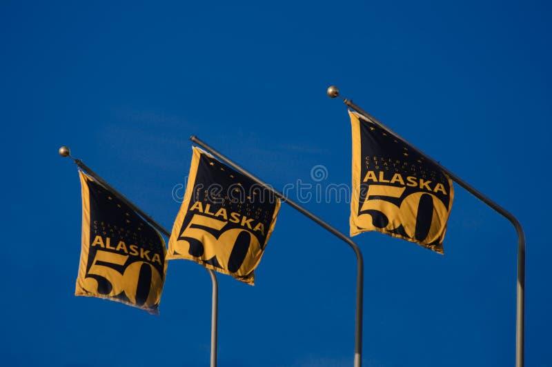 Indicateur de l'Alaska 50 ans de statehood photo libre de droits
