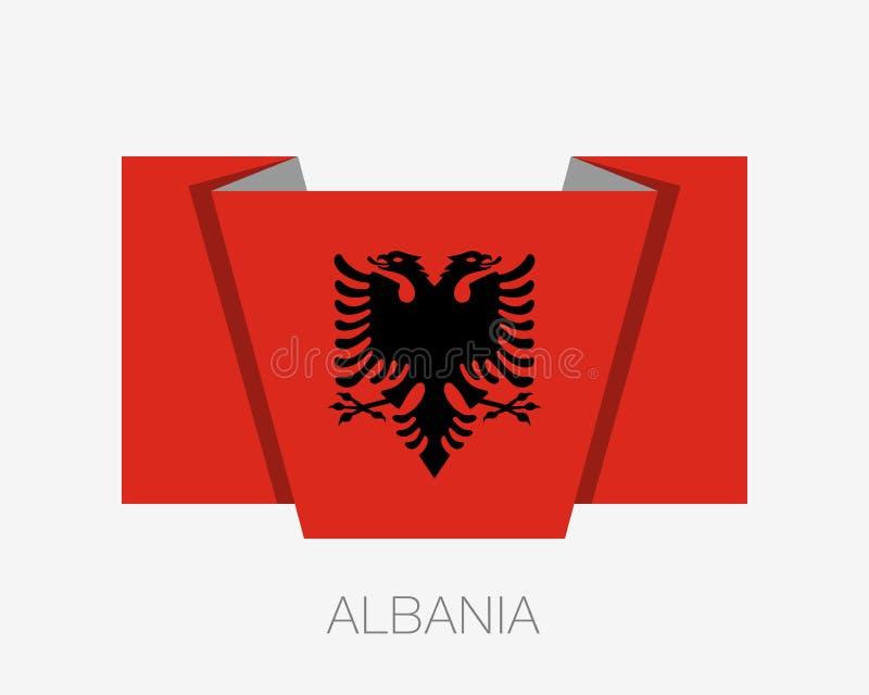 indicateur de l'Albanie Drapeau de Drapeau de ondulation d'icône plate avec le pays Nam illustration libre de droits
