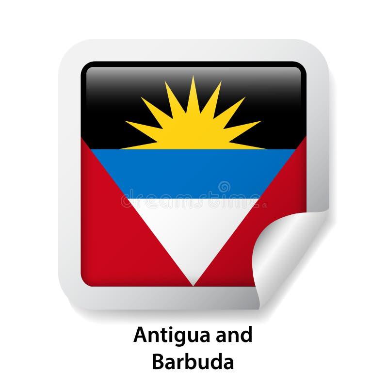 Indicateur de l'Antigua et du Barbuda Autocollant brillant rond illustration libre de droits