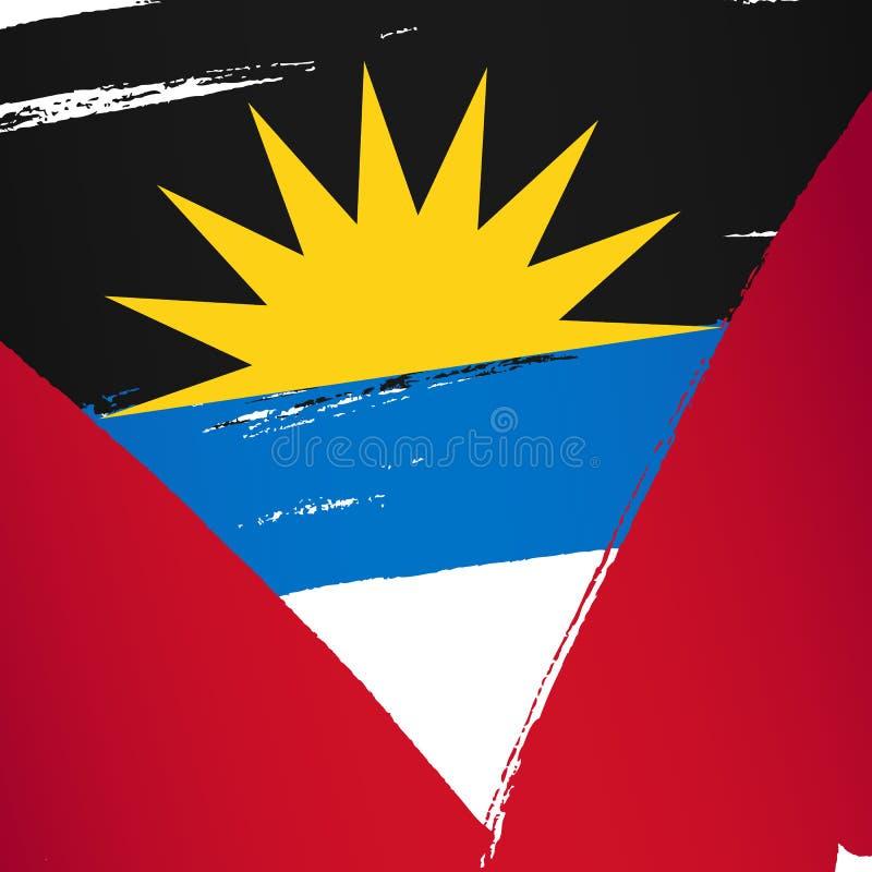 Indicateur de l'Antigua et du Barbuda Des courses de brosse sont dessinées à la main illustration libre de droits
