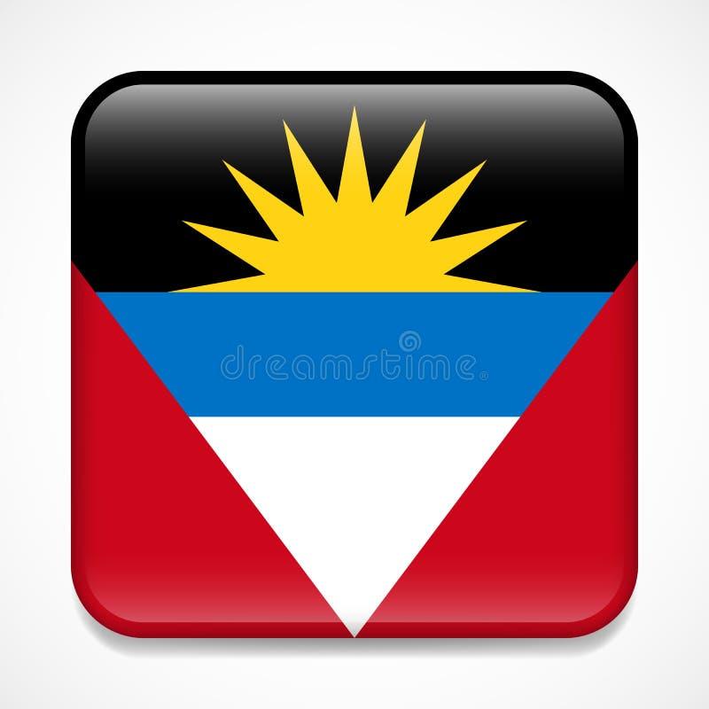 Indicateur de l'Antigua et du Barbuda Insigne brillant de place illustration stock