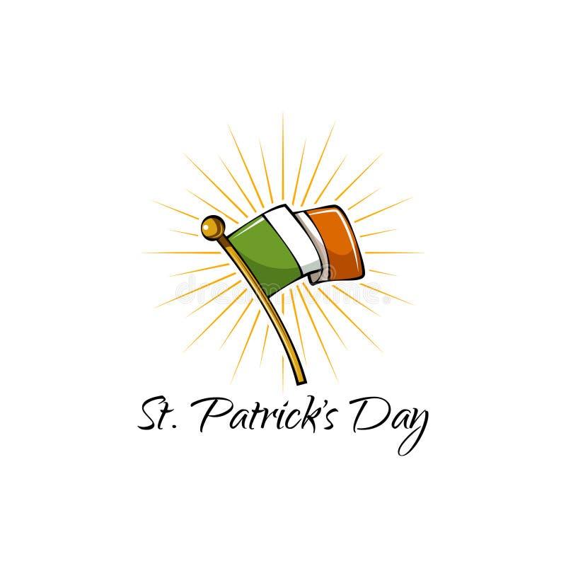 Indicateur de l'Irlande Symbole de jour du ` s de St Patrick D'isolement sur le fond blanc Vecteur illustration libre de droits