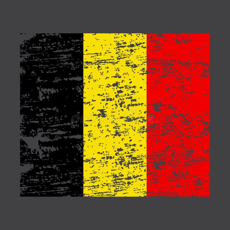 Indicateur de la Belgique Balayez le drapeau peint de la Belgique Illustration tir?e par la main de style avec un effet et une aq illustration stock