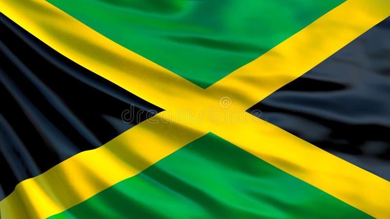 Indicateur de la Jamaïque Drapeau de ondulation d'illustration de la Jamaïque 3d illustration de vecteur