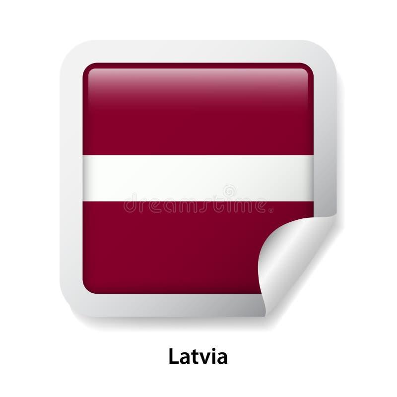 Indicateur de la Lettonie Autocollant brillant rond illustration de vecteur