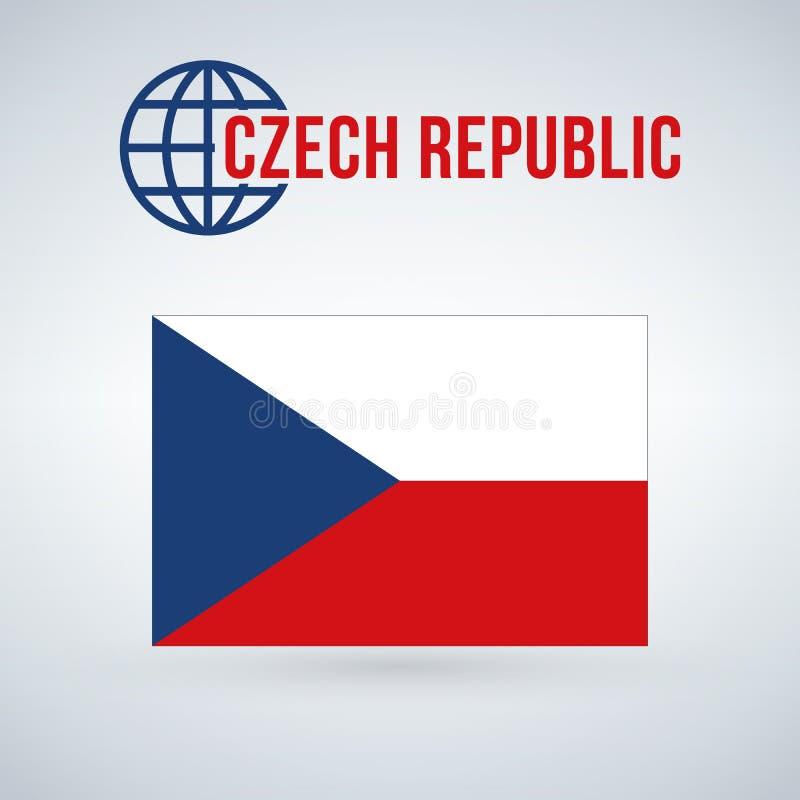 Indicateur de la République Tchèque Dirigez l'illustration d'isolement sur le fond moderne avec l'ombre illustration de vecteur