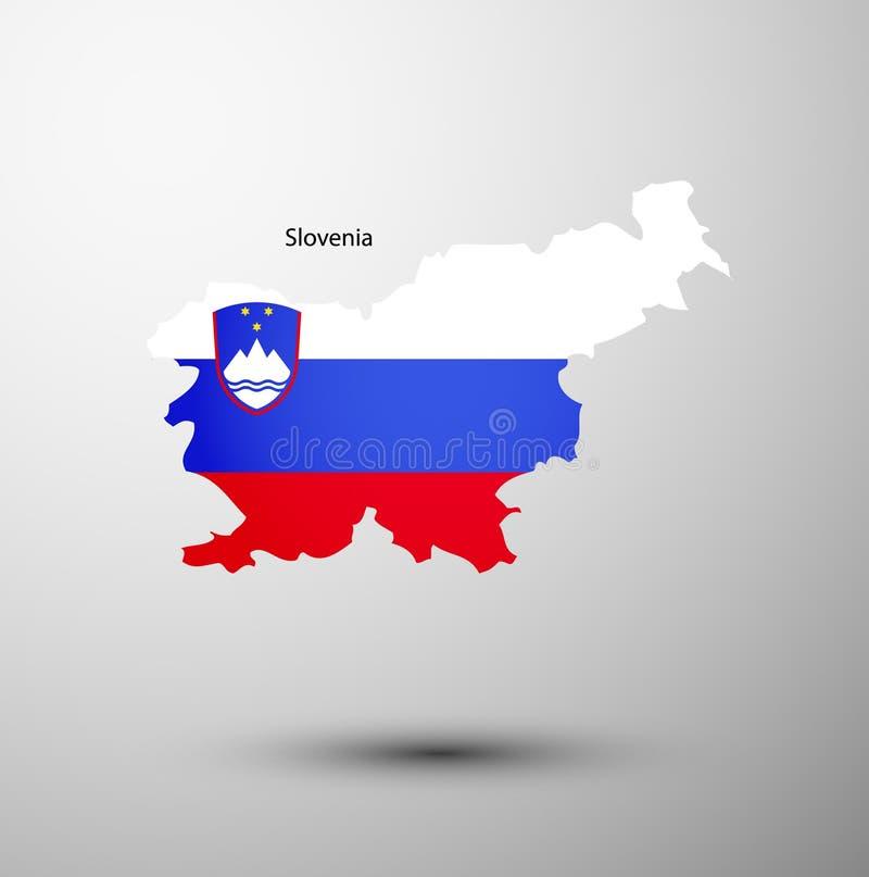 Indicateur de la Slovénie sur la carte illustration de vecteur