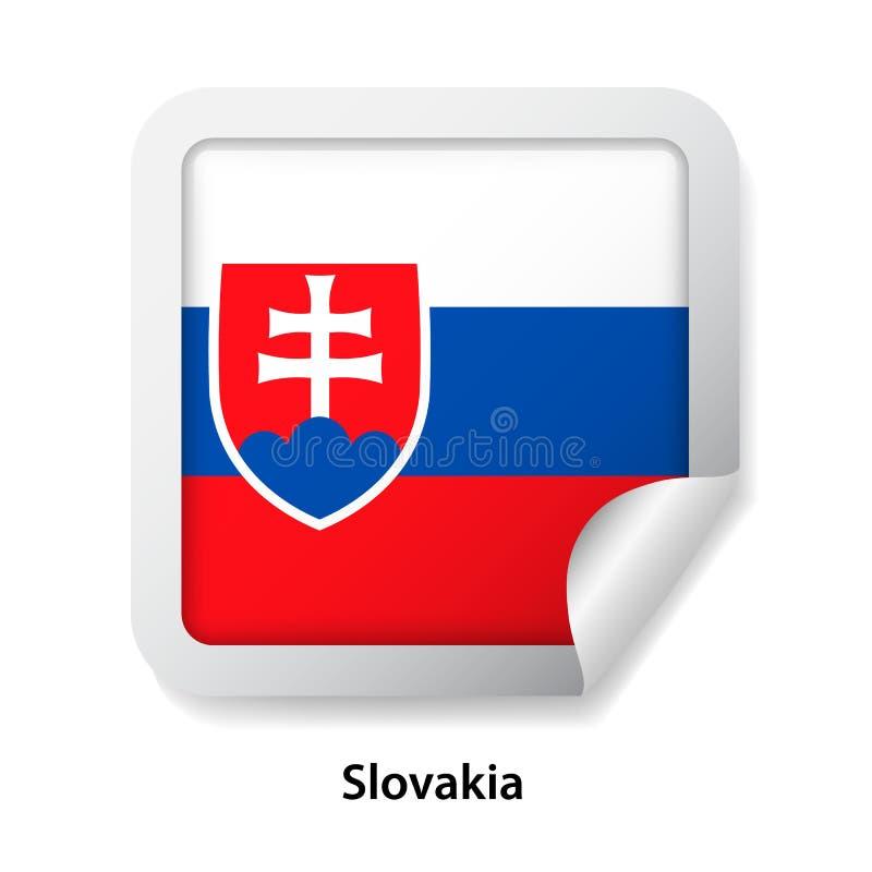 Indicateur de la Slovaquie Autocollant brillant rond d'insigne illustration de vecteur