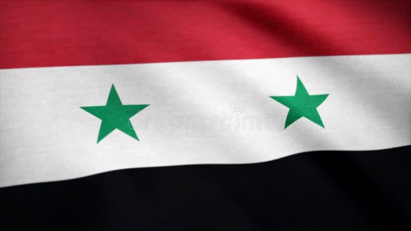 Indicateur de la Syrie Drapeau de la Syrie ondulant à l'animation de vent photographie stock