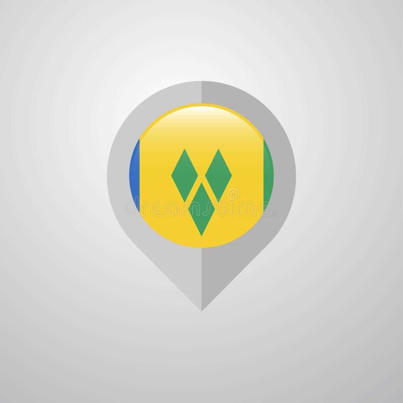 Indicateur de navigation de carte avec le drapeau De de Saint Vincent et de grenadines illustration stock