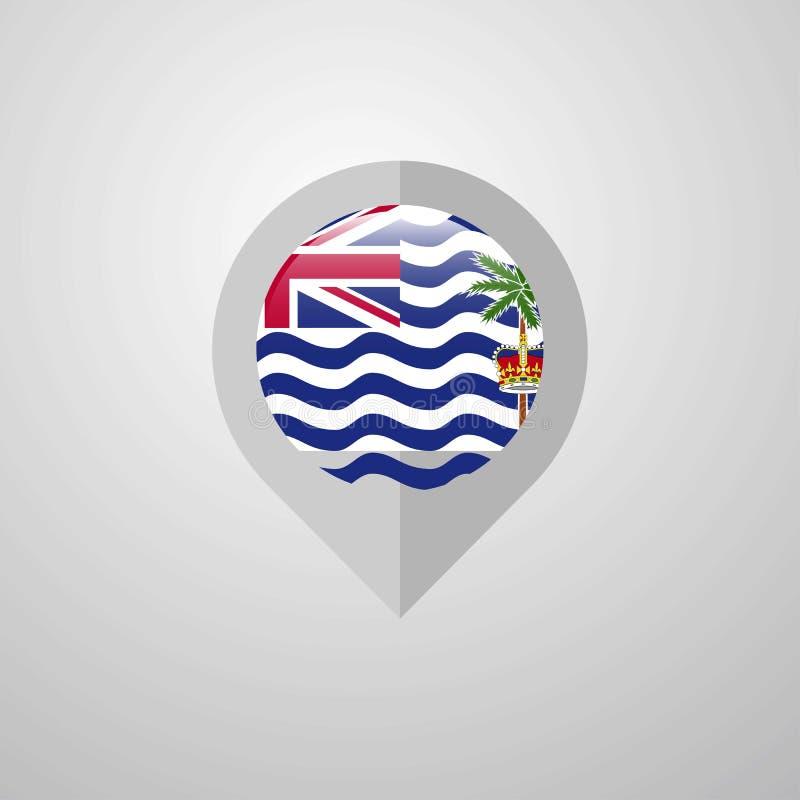 Indicateur de navigation de carte avec le drapeau de territoire d'Océan Indien britannique illustration de vecteur