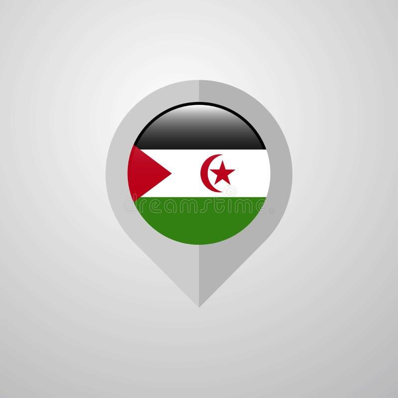 Indicateur de navigation de carte avec le vecteur de conception de drapeau de la Sahara occidental illustration libre de droits