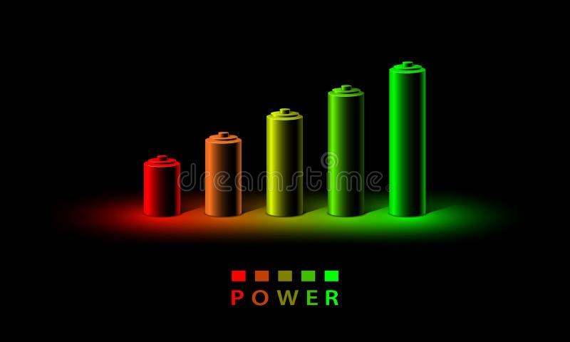 Indicateur de niveau de charge au néon de la batterie 3D Ensemble réaliste de batteries du petit rouge au grand vert dans la lamp illustration stock