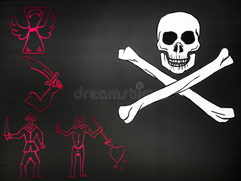 Indicateur de pirate avec le crâne image libre de droits