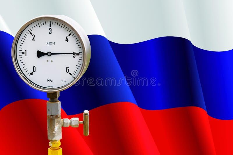 Indicateur de pression de tête de puits sur le drapeau Russie image libre de droits