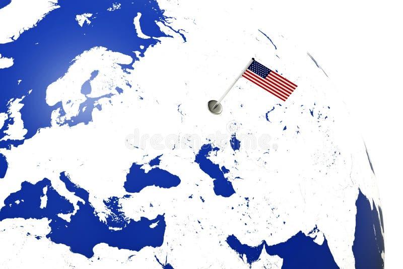 Indicateur des Etats-Unis Drapeau de pays avec le mât de drapeau de chrome sur la carte du monde drapeau de rendu de l'illustrati illustration de vecteur