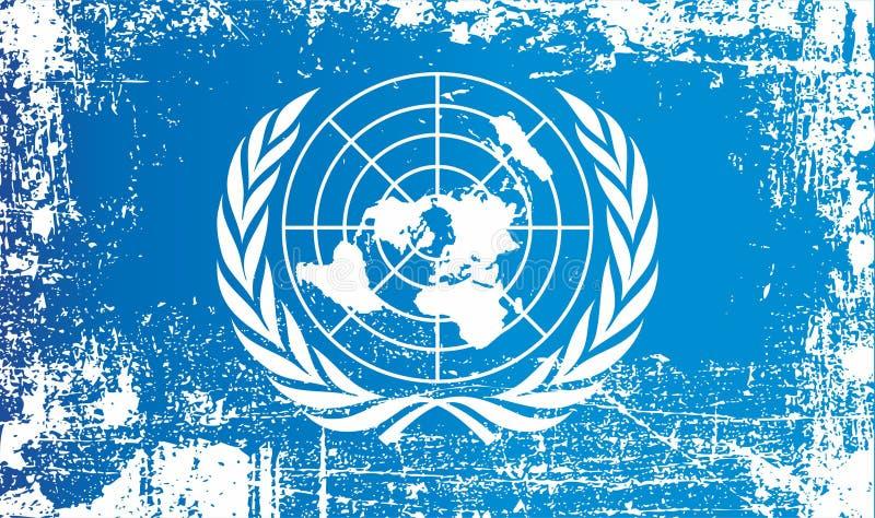 Indicateur des Nations Unies Taches sales froissées illustration de vecteur
