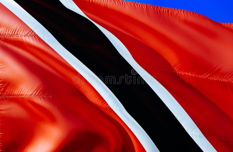 Indicateur des Trinité-et-Tabago conception de ondulation du drapeau 3D Le symbole national du Trinidad-et-Tobago, rendu 3D Coule photographie stock libre de droits