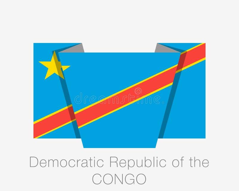 Indicateur du Democratic Republic Of The Congo Drapeau de ondulation d'ic?ne plate avec le nom du pays sur le blanc illustration libre de droits