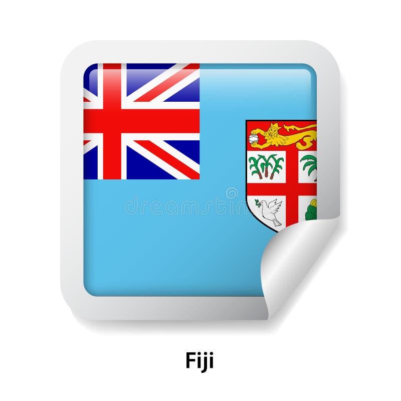 Indicateur du Fiji Autocollant brillant rond illustration stock