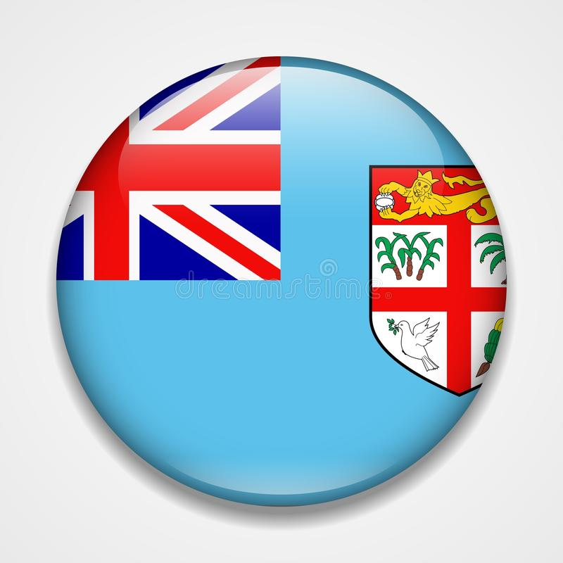 Indicateur du Fiji Insigne brillant rond illustration stock