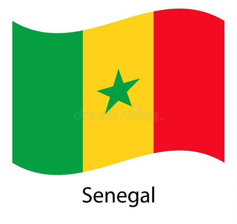 Indicateur du Sénégal Drapeau de ondulation réaliste de la République du Sénégal illustration stock