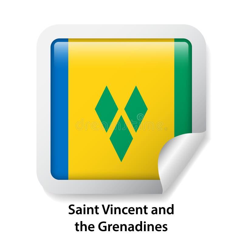 Indicateur du Saint Vincent And The Grenadines Autocollant brillant rond d'insigne illustration stock